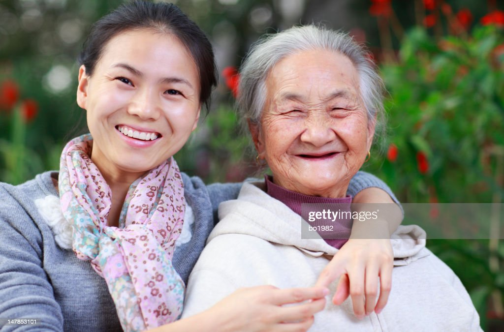 picture of happy grandmother with granddaughter : Stock Photo