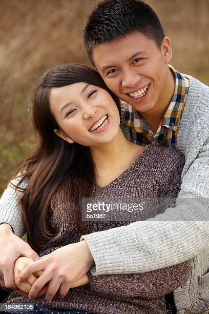 picture of happy young couple together outdoor