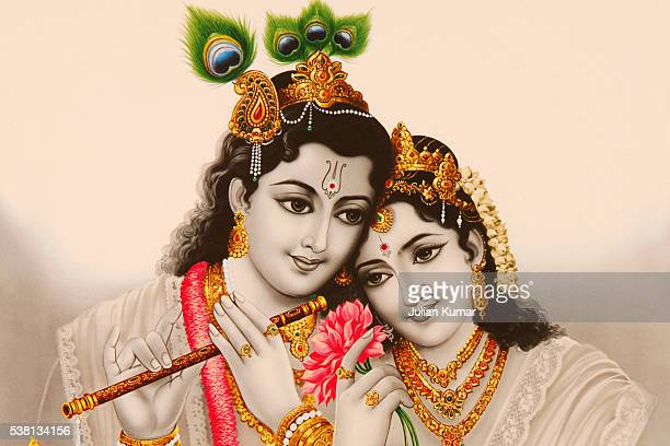 picture of hindu gods radha & krishna - lord krishna stock photos and pictures