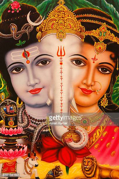 picture of hindu gods shiva, ganesh & parvati - hindu god stock photos and pictures