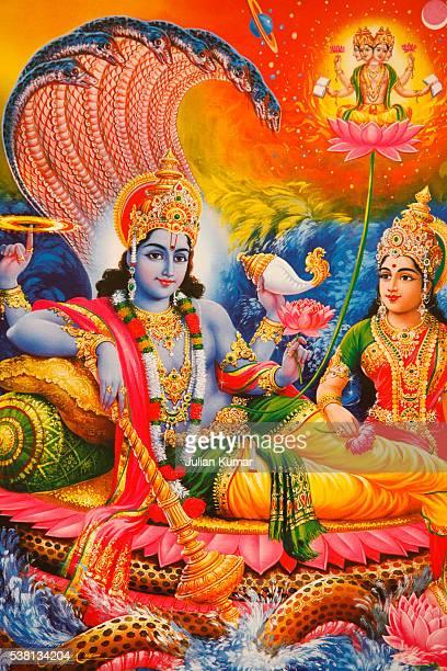 picture of hindu gods vishnu & lakshmi - vishnu stock photos and pictures