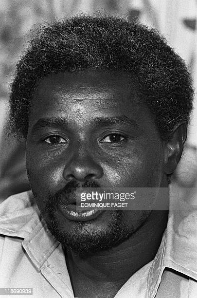 Picture of Hissene Habré, Chad's Defense Minister and leader of Northern Army Forces, taken in N'Djamena 07 April 1980 during a press conference....