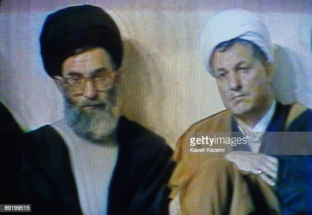 A TV picture of Iranian President Ayatollah Seyyed Ali Khamenei and the Speaker of the Iranian parliament Ayatollah Ali Akbar Hashemi Rafsanjani...
