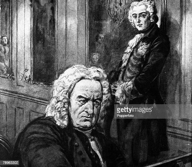 A picture of Johann Sebastian Bach the German composer seen here playing before Frederick the Great of Prussia
