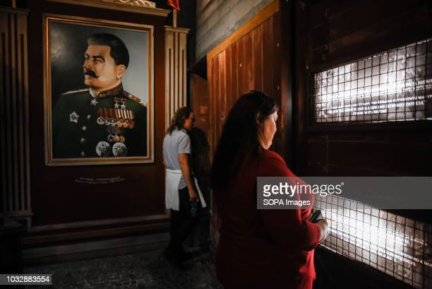 A picture of Joseph Stalin seen during the exhibition Exhibition at Oskar Schindler's Enamel Factory museum it is primarily a story about Krakow and...