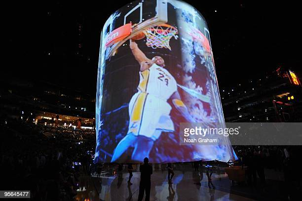 Picture of Kobe Bryant of the Los Angeles Lakers is shown on the screen during the pre-game ceremony before the game between the Cleveland Cavaliers...