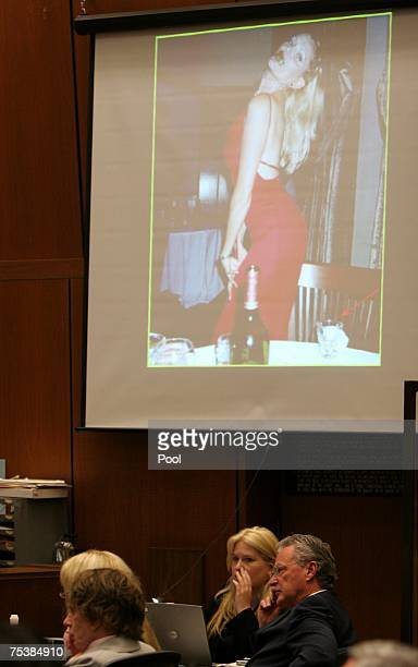 Picture of Lana Clarkson eating lime is showed during Phil Spector's murder trial in Superior Court July 12, 2007 in Los Angeles, California. Spector...