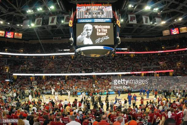 A picture of LeBron James of the Cleveland Cavaliers welcoming fans to the game is displayed on the jumbotron prior to Game Six of the Eastern...