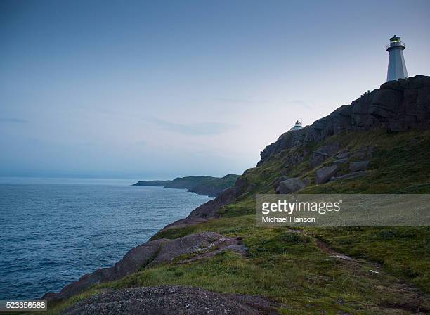 picture of lighthouse on top of hill, st. john's, newfoundland and labrador, canada - paisajes de st johns fotografías e imágenes de stock