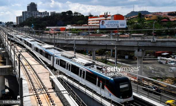 Picture of lines of the San Miguelito metro station on the outskirts of Panama City, taken on April 28, 2019. - The metro line 2 mega-project was...