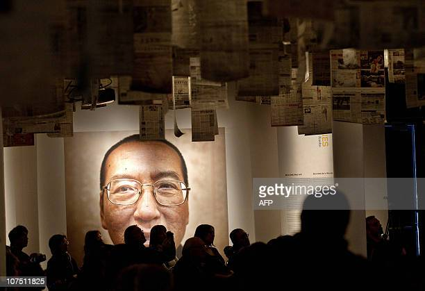 A picture of Liu Xiaobo seen inside the Nobel Peace Center on the day of The Nobel Peace Prize ceremony in Oslo on December 10 2010 The head of the...