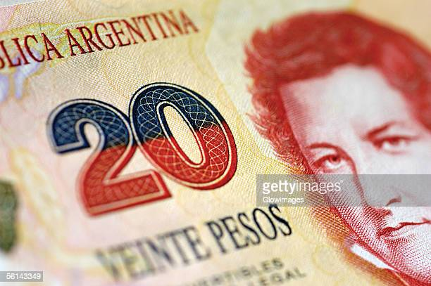 """""""picture of man on one twenty pesos argentinean bank note, close-up"""" - argentina stock pictures, royalty-free photos & images"""