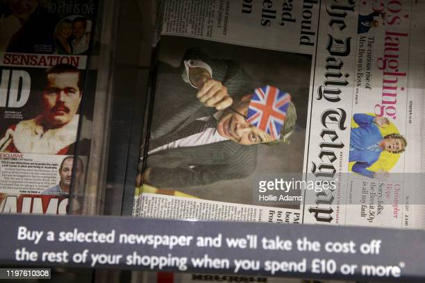 Picture of Nigel Farage waving a British Union flag is printed on the front page of The Daily Telegraph on January 30, 2020 in London, United...