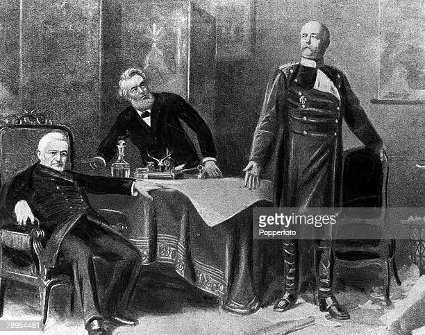 A picture of Otto von Bismarck the German statesman and politician and Prime Minister of Prussia from 186290 dictating terms of Peace at Versailles