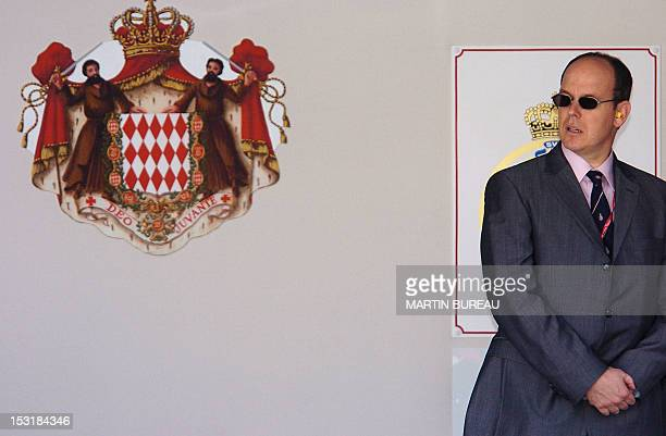 Picture of Prince Albert of Monaco taken on the podium of the Monte Carlo racetrack after the Monaco Grand Prix 23 May 2004 in Monaco Italian Renault...
