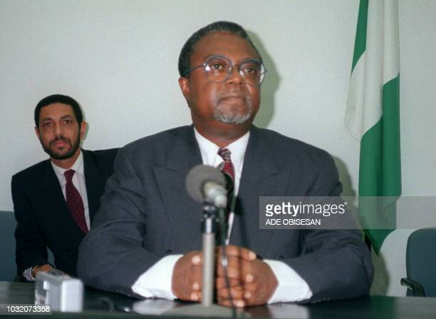 Picture of Professor Amos Sawyer interim President of Liberia since september 1990 taken 15 November 1990 during a press conference in Lagos Le...