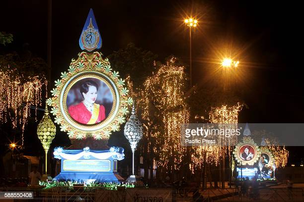 A picture of Queen Sirikit by the side of the road in Bangkok the 12 of August is the Queen's birthday Thai people celebrated this day as national...