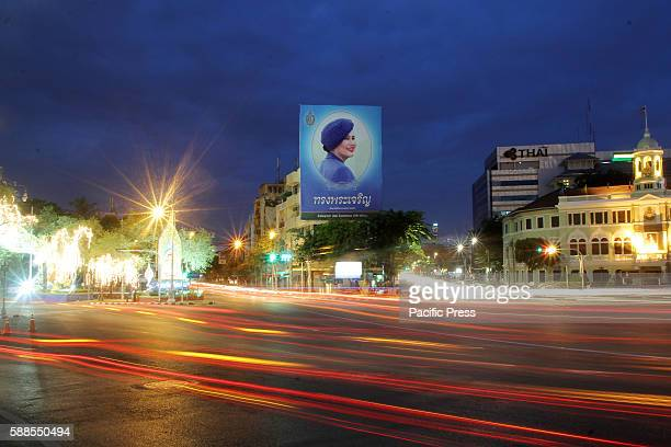 Picture of Queen Sirikit seen on top of a building in Bangkok, the 12 of August is the Queen's birthday. Thai people celebrated this day as national...
