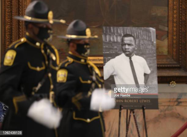 Picture of Rep. John Lewis is displayed as he lays in repose at the Georgia capitol on July 29, 2020 in Atlanta, Georgia. Mr. Lewis was a civil...