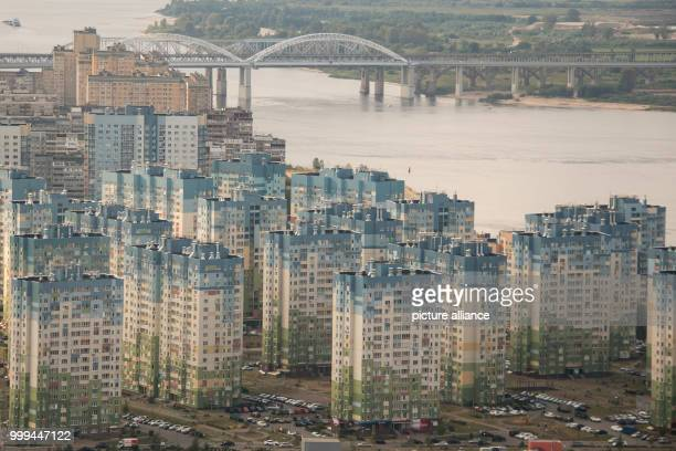 Picture of residential buildings taken in Nizhny Novgorod, Russia, 26 August 2017 . The river Volga flows behind. The city is host to one of the...