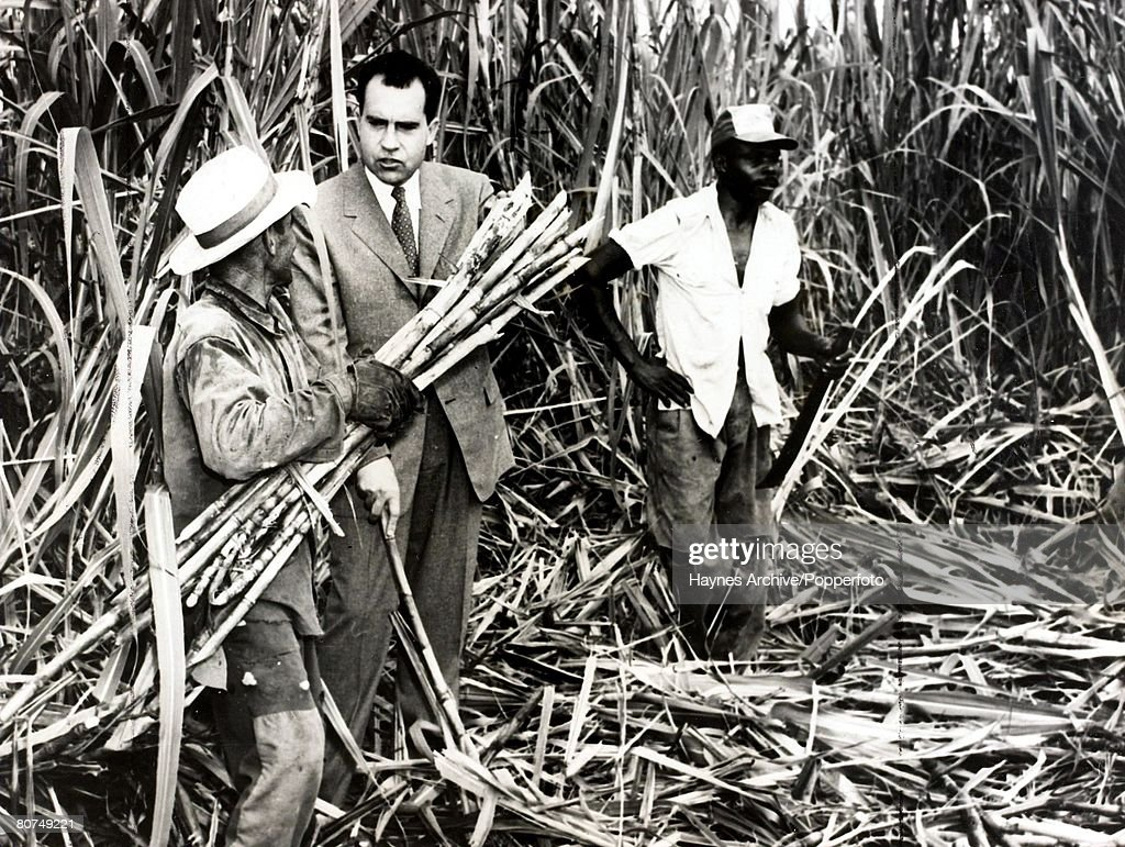 1958 A picture of Richard Nixon the US Vice-President pictured with Sugar Cane workers in Havana, Cuba. : News Photo