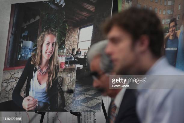 A picture of Samya Stumo who was killed in the crash of Ethiopian Airlines Flight 302 sits near her brother Adnaan Stumo as he speaks during a press...