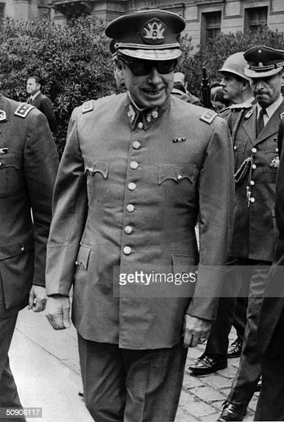 Picture of September 1973 of the president of the Chilean military junta, General Augusto Pinochet, in Santiago, following the CIA-aided coup against...