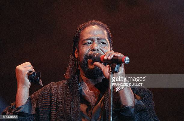 Picture of soul singer from the USA Barry White singing at the Printemps de Bourges festival 05 April 1988 Barry White died 04 July 2003 of kidney...