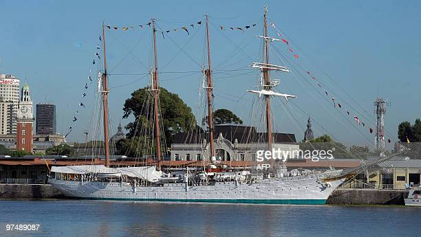 Picture of Spanish sailing ship Juan Sebastian Elcano moored in the port of Buenos Aires during the regatta of Tall Ships Sails South America 2010 on...