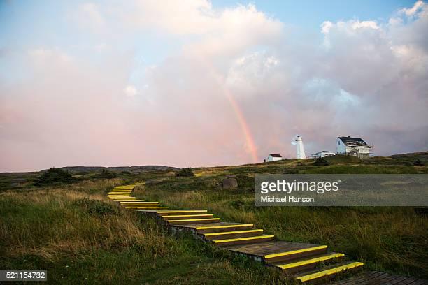 picture of steps, rainbow, lighthouse, st. john's, newfoundland and labrador, canada - paisajes de st johns fotografías e imágenes de stock