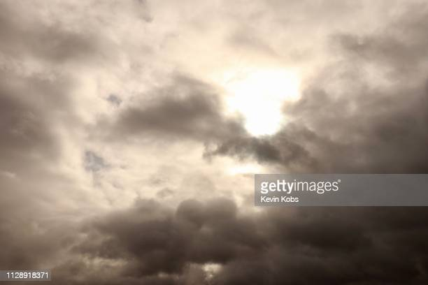 Picture of sun with cloud formation at bad weather in landscape mode.