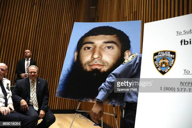 A picture of suspect Sayfullo Saipov is displayed during a news conference about yesterday's attack along a bike path in lower Manhattan that is...