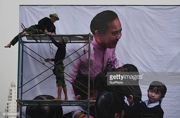 A picture of Thailand Prime Minister Prayut Chanocha is seen on a billboard as official preprarefor an upcoming event the National Children's Day at...