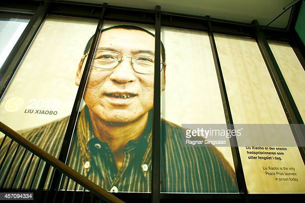 A picture of the 2010 Nobel Peace Prize Laureate Liu Xiaobo is seen at The exhibition Be Democracy at The Nobel Peace Center on October 11 2014 in...