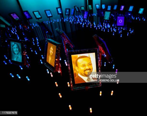 A picture of the 2019 Nobel Peace Prize laureate Ethiopian Prime Minister Abiy Ahmed Ali is on display at the Nobel Peace Center in Oslo on October...