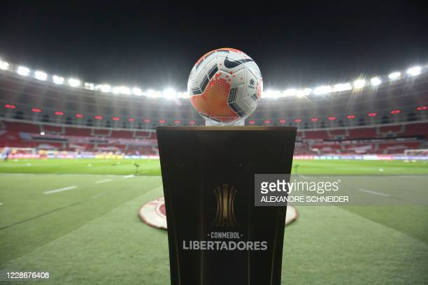 Picture of the ball taken at the empty Beira Rio stadium in Porto Alegre, Brazil, before the start of the closed-door Copa Libertadores group phase...