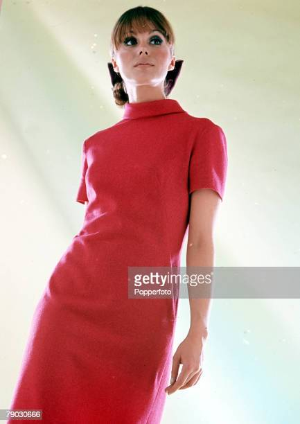 A picture of the British actress Joanna Lumley wearing a fashionable red dress for some early fashion shots