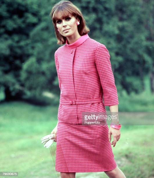 A picture of the British actress Joanna Lumley wearing a fashionable pink outfit for some early fashion shots