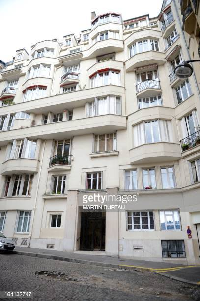 Picture of the building where live IMF chief and former French Finance Minister Christine Lagarde taken on March 20 2013 in Paris during a search by...