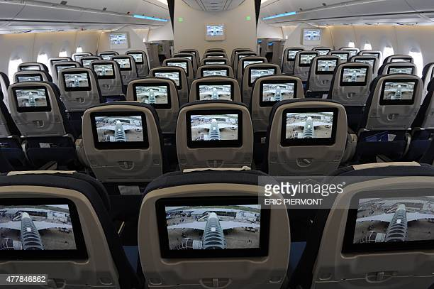 Picture of the cabin of an Airbus A 350 XWB taken at the International Paris Airshow at Le Bourget on June 20 2015 AFP PHOTO ERIC PIERMONT