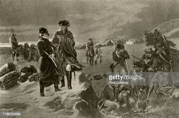Picture of the Camp at Valley Forge showing military cloak and great coat worn by the officers and the Dutch blankets worn by the private soldiers'...