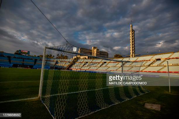 Picture of the Centenario Stadium, with empty stands due to the COVID-19 novel coronavirus pandemic, taken before the start of the closed-door 2022...
