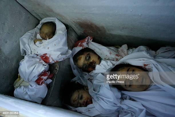 Picture of the child casualties at the morgue in Rafah in the Southern Gaza Strip in an icecream freezer who died along with other members of alGhul...