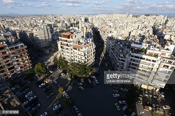 A picture of the coastal city of Latakia the provincial capital of the heartland of Syrian president's Alawite sect on March 17 2016 / AFP / LOUAI...