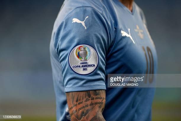 Picture of the Copa America 2021 logo seen on the jersey of Uruguay's Giorgian De Arrascaeta during the Conmebol Copa America 2021 football...