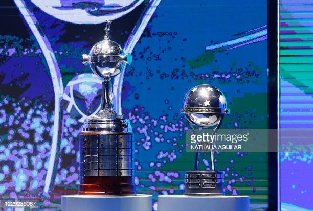 Picture of the Copa Libertadores and Copa Sudamericana trophies taken during the draw for the next rounds of the football tournaments at the South...