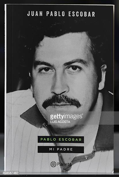 Picture of the cover of the book Juan Pablo Escobar wrote abot his father Colombian drug kingpin Pablo Escobar takes during an interview of the...