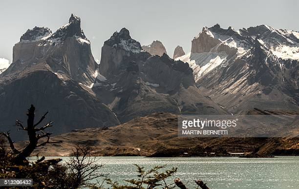 Picture of the Cuernos del Paine mounts part of the Paine small mountain group in the 230000 hectare Torres del Paine National Park in the Chilean...