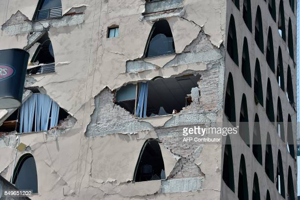 Picture of the damages caused on a building by a powerful quake in Mexico City on September 19 2017 A powerful earthquake shook Mexico City on...
