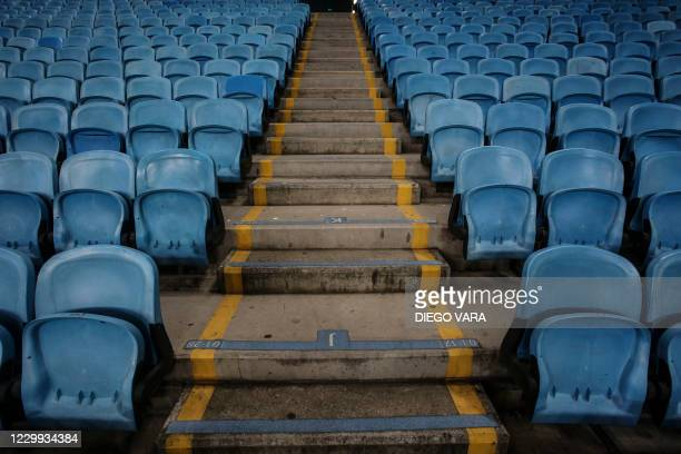 Picture of the empty stands of the Arena do Gremio stadium taken before the closed-door Copa Libertadores round before the quarterfinals football...